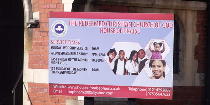 A branch of the Redeemed Christian Church of God in Edgbaston, Central England Photo Credit: Elliott Brown via Flickr (http://bit.ly/2fUebqv) CC BY 2.0