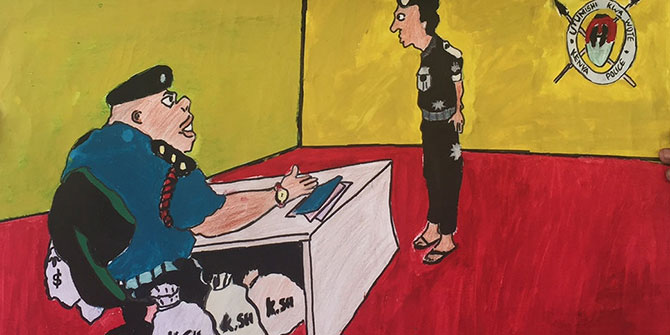 A child's drawing of corrupt officials in Kenya