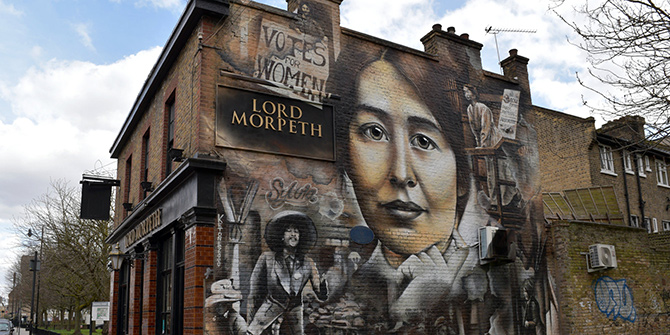 This mural in Bow, East London commemorates the life and work of Sylvia Pankhurst Image Credit: Loco Steve via Flickr CC BY-SA 2.0