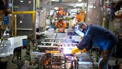 A photo of a worker completing a project in the Volvo manufacturing center in Dublin, Virginia.