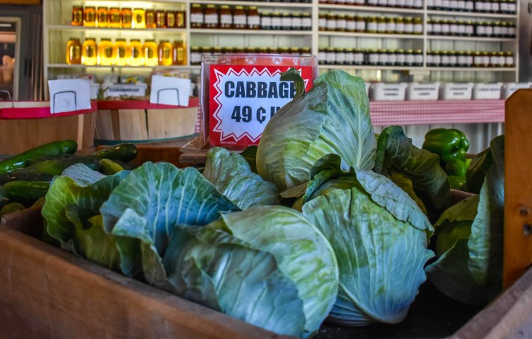 cabbages at produce stand