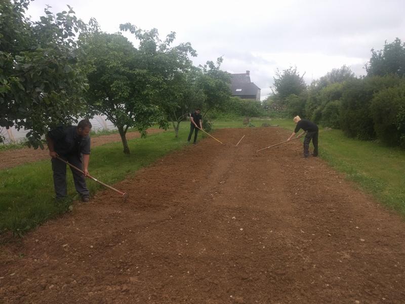 Préparation du sol avant bâchage et plantation