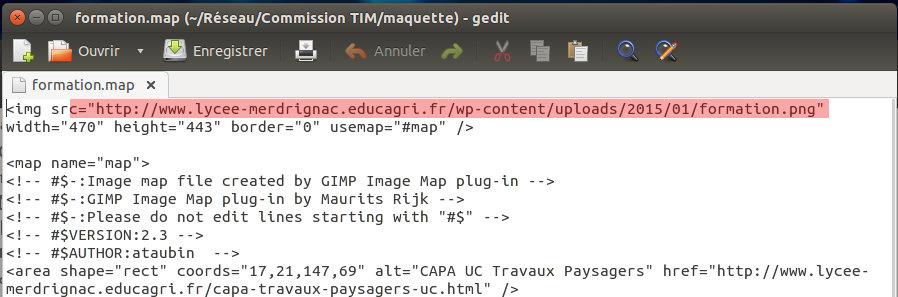 Il Faut Modifier Le Fichier Source De La Carte Cliquable En Mettant Ladresse Limage Sur Web