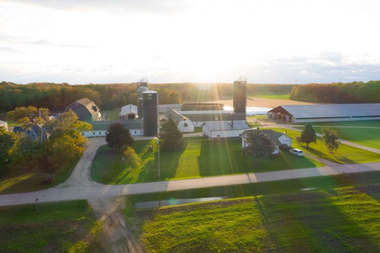 Overhead photo of farm