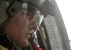 blackhawk helicopter crew chief asses damages in Houston from helicopter