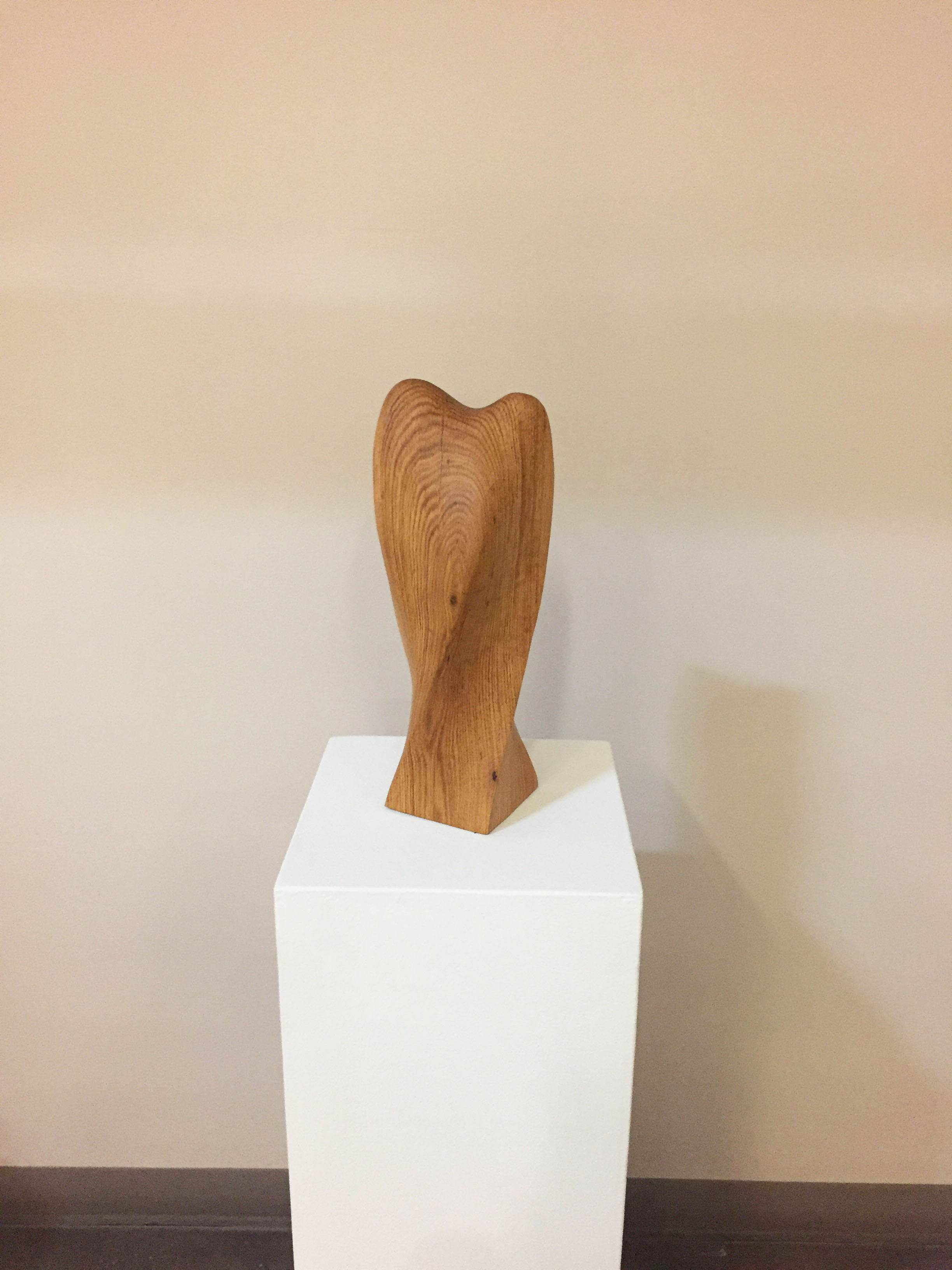 Smooth, winding, wooden sculpture sits as an object in the MSU Student Exhibition