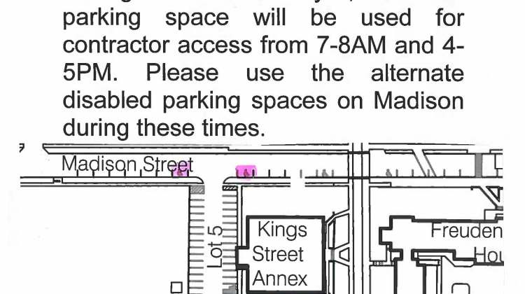 Closure Notification – Parking Lot 5 Disabled Space