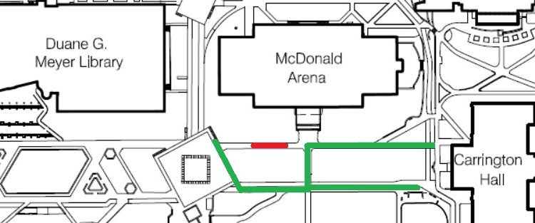 UPDATE:  Sidewalk Repairs at McDonald Arena, Aug 16-19