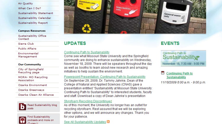 Sustainability Web Site Updated
