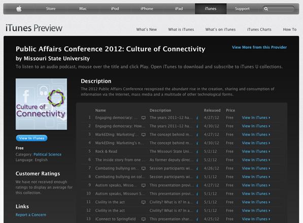 Public Affairs Conference media in iTunes U