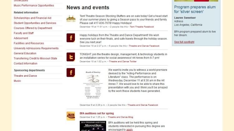Musical theatre website showcases interdisciplinary approach