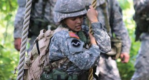 Military science student engaged in training