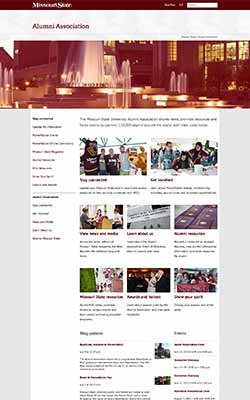 Alumni website homepage