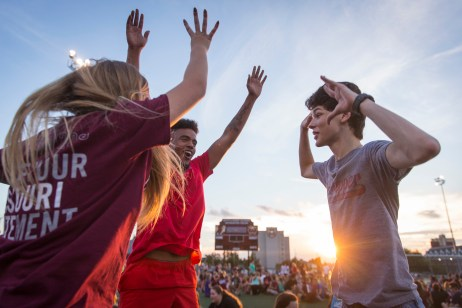 Students participate in Playfair for Welcome Weekend.