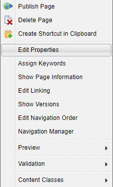 Edit properties drop-down menu