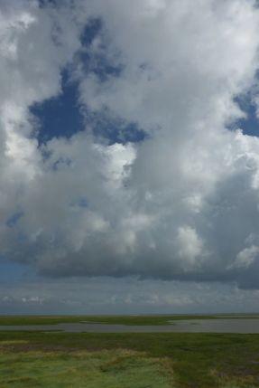Wolken über der Salzwiese (Foto: Tore J. Mayland-Quellhorst).