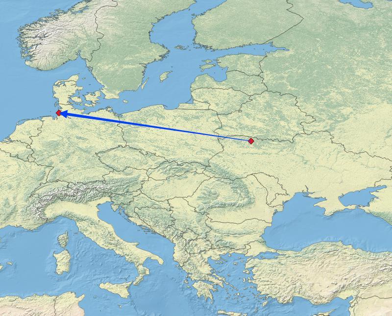 Beringungs- und Ableseort des ukrainischen Austernfischers auf Trischen (Kartengrundlage: naturalearthdata.com; Bearbeitung: Jonas Kotlarz)