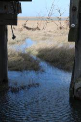 Wasserstand unter der Hütte: Halbes Schienbein