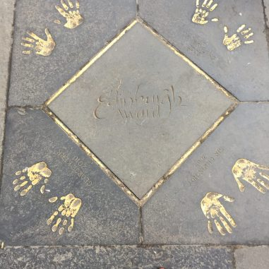 The famous golden handprints