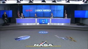 NASA officials sit several feet apart in Kennedy Space Center's press site auditorium on Tuesday, May 26, for a briefing. From left to right are Center Director Bob Cabana; NASA Administrator Jim Bridenstine; NASA astronauts Nicole Mann and Kjell Lindgren; and NASA Deputy Administrator Jim Morhard.