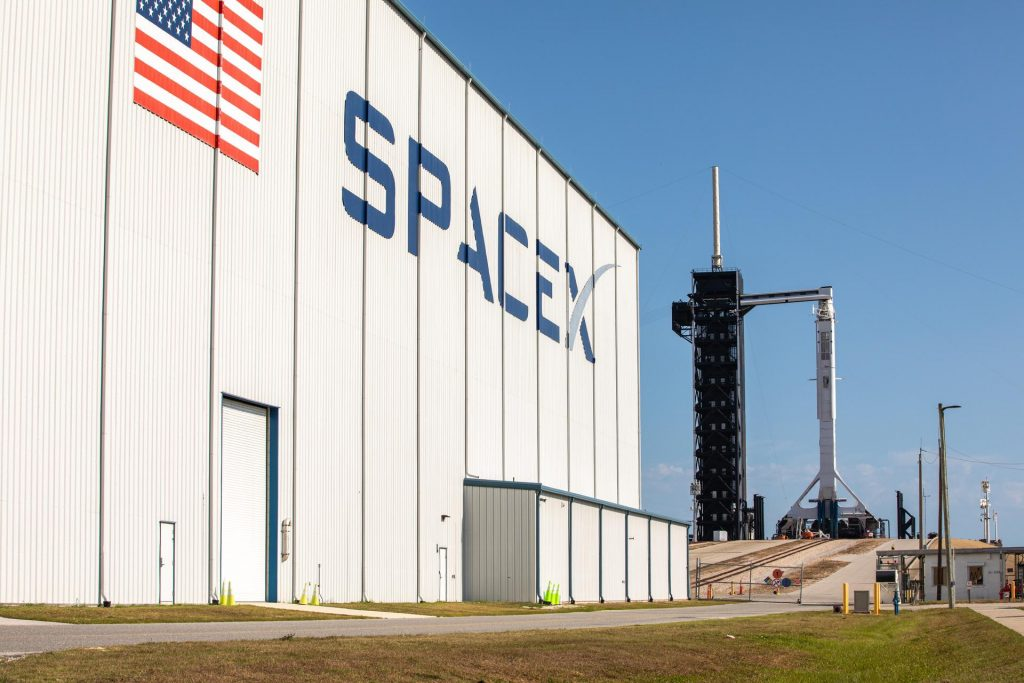 A SpaceX Falcon 9 rocket, with the Crew Dragon atop, stands poised for launch at historic Launch Complex 39A at NASA's Kennedy Space Center in Florida on May 21, 2020, ahead of NASA's SpaceX Demo-2 mission.