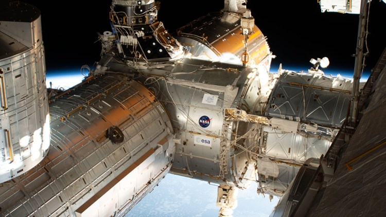 The forward end of the International Space Station