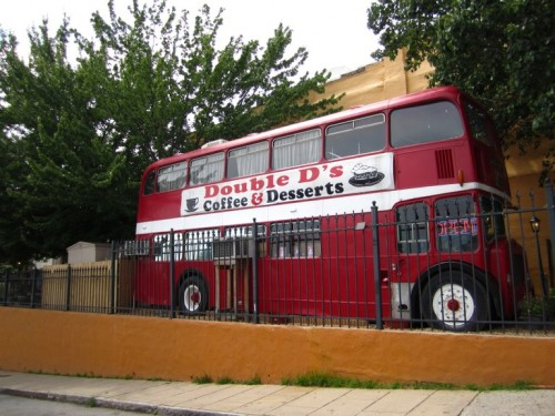 Not unlike something you'd see in Harry Potter's London, Asheville's very own red double-decker bus provides Asheville residents with their daily dose of those magical energy-boosters, caffeine and sugar.