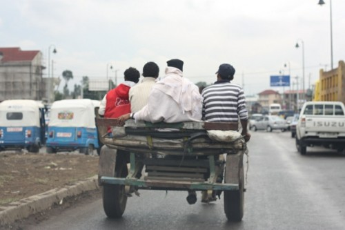 People use alternative transportation here too…