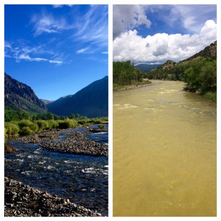 Animas River up and downstream of the catastrophic mine accident