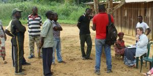 Conducting an interview with a key community member in Ntsiete