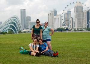 Catherine, Elisia, Aurora, and Emily on the green roof of the Marina Barrage.