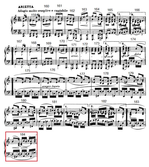 op. 111 – Eine Analyse in 335 Teilen – Takt 184 (Adventskalender, Türchen Nr. 18)