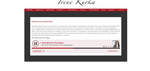 Screenshot der Podcast-Seite von Irene Kurka.