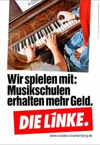 Musikschule, die Linke. Wahlplakat