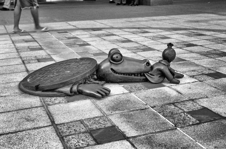 Krokodil frisst Geld. Foto: Hufner