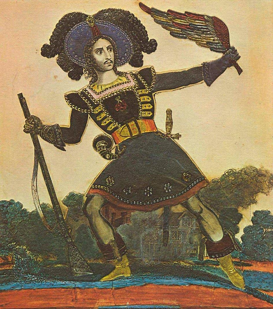 Englischer Lithograph um 1840 (Ausführung): Der Schauspieler Horn als Caspar in »Der Freischütz« Um 1840, Kolorierte Lithographie mit Metallblättchen (Collage), 25,4 × 28,8 cm, London, Victoria and Albert Museum