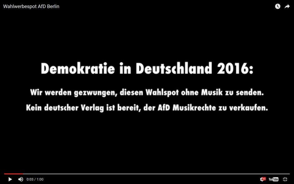 Vorspann zum Berliner Wahlwerbespot der AfD. Screenshot