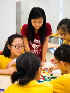 Putting their strategic and analytical skills to the test as the children and hall residents played a game of Blokus.