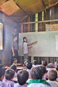 Teaching at the school beside the nunnery.