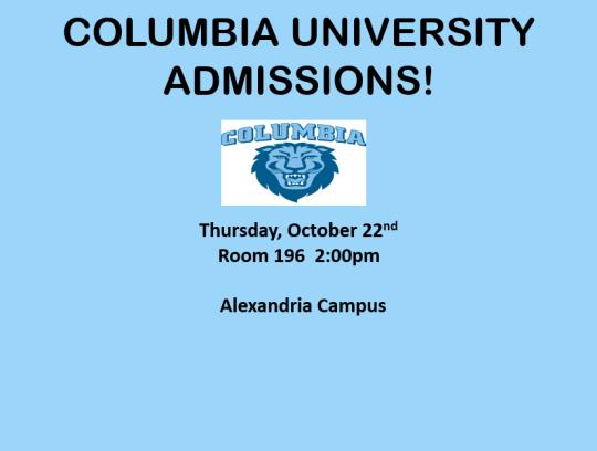 Columbia University Admissions!