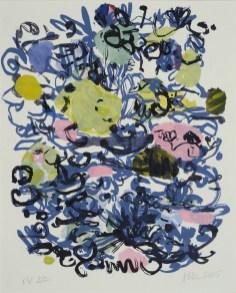 "Blue Line, Lithograph | 16"" x 18"" | 2005 ( Framed)"