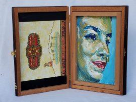 """2. Andrea, Acrylic on cedar cigar box, 10.5"""" x 14.5"""", 2019, $420"""