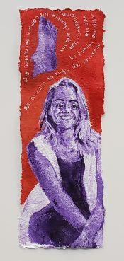 "11. Yo Conozco la Magia del Universo - Linda, Acrylic on Handmade Paper, 18"" x 6.5"" , 2019, $240"