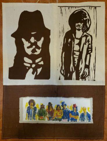 "15. Los de la Mt. Pleasant Collaboration with Julio Cubillos, Screen print on unstretched canvas, acrylic on unstretched canvas, sewn, 41"" x 31"", 2020, $1,500"