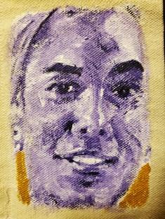 "13B. Detail: Caras Moradas en Oro, Acrylic on Unstretched Canvas, Cloth, Thread, Needle, 37"" x 13.5"", 2019"