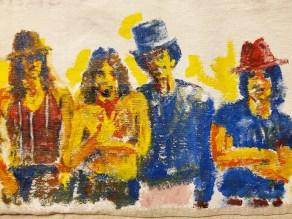 "15A. Detail: Los de la Mt. Pleasant Collaboration with Julio Cubillos, Screen print on unstretched canvas, acrylic on unstretched canvas, sewn, 41"" x 31"", 2020"