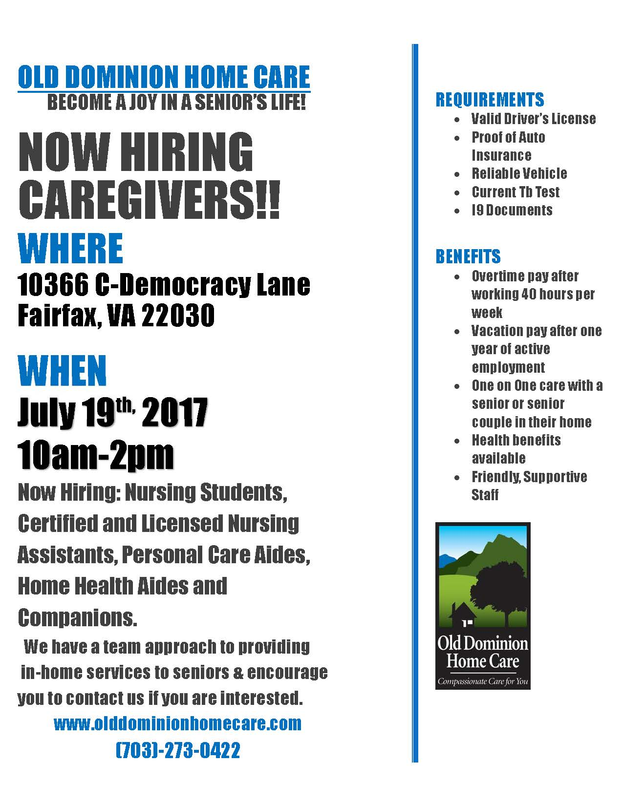 Old Dominion Insurance >> Old Dominion Home Care Now Hiring Caregivers The Mec Exchange