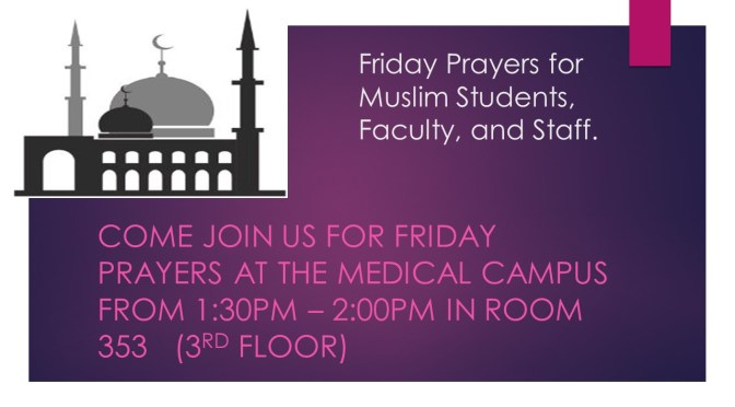 Friday Prayer for students, faculty and staff
