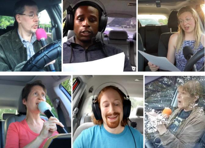 Driveway choir singers in Massachusetts.