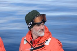 Doug listening for whales on an especially calm day in Biscoe bay (photo: A. Friedlaender)